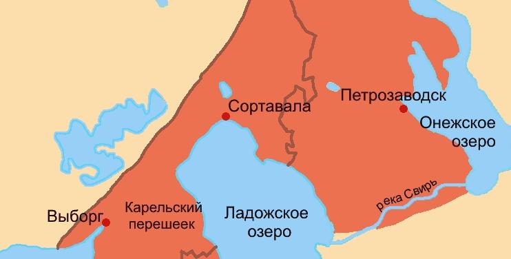 карта карелия финляндия