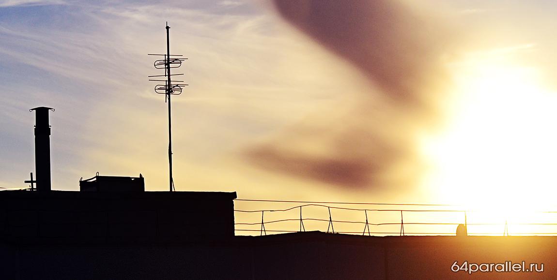 антенна крыша костомукша закат солнце