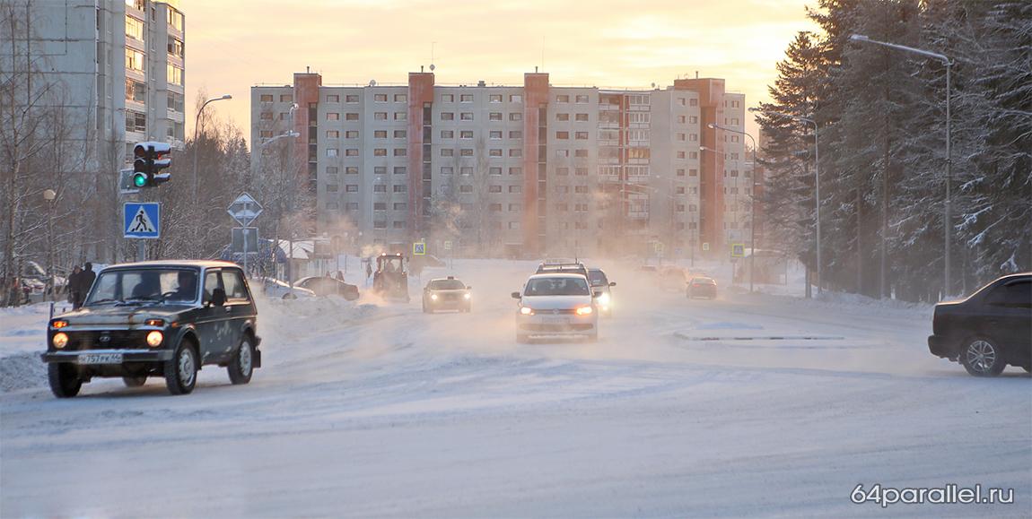 Город Костомукша зима дорога  (17)