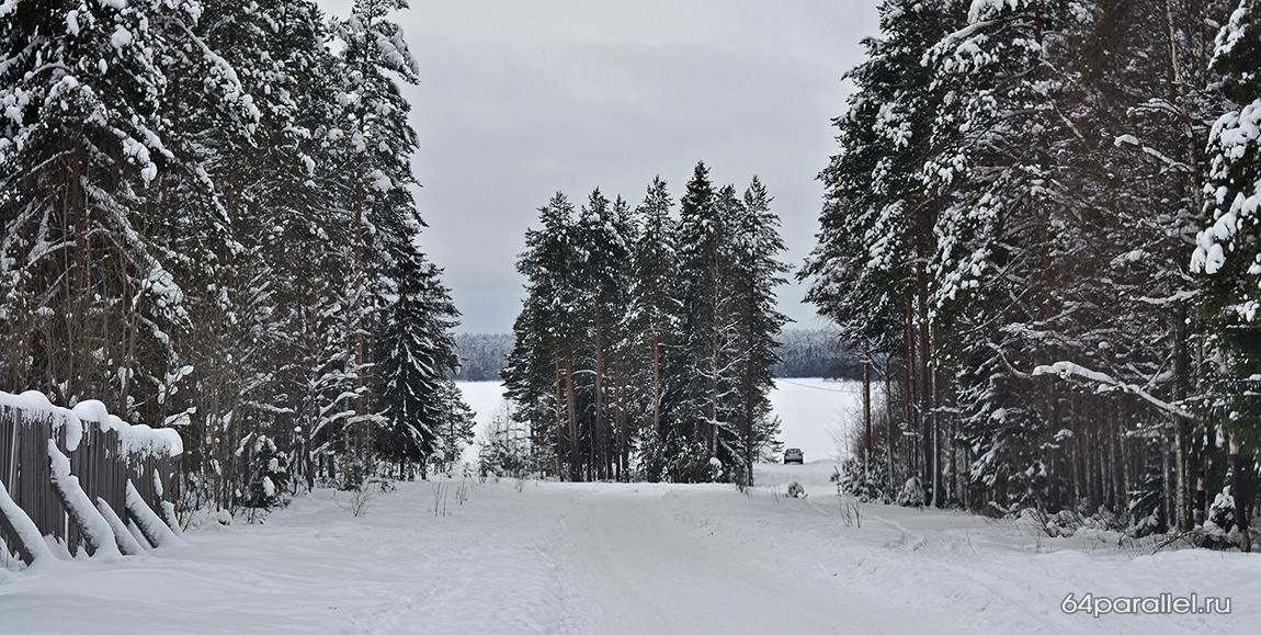 Костомукша зима озеро снег город