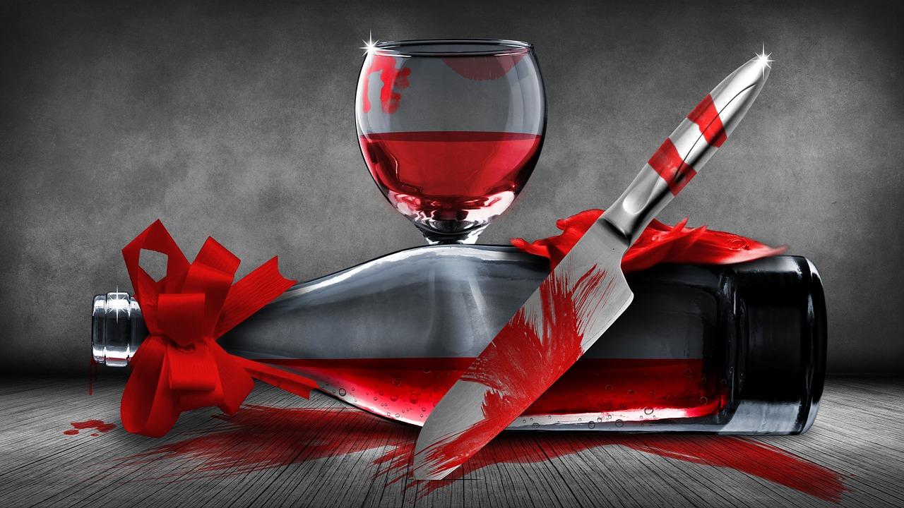 нож бутылка бокал кровь Пиксбэй