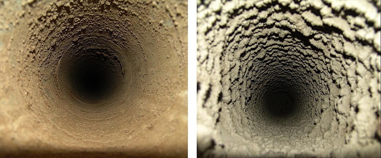 На этих фотографиях хорошо видна разница. Вертикальные каналы (фото слева) – не сильно заросшие, их хоть как-то пытались чистить, зато в горизонтальных (справа) минимум по два сантиметра наростов с каждой стороны