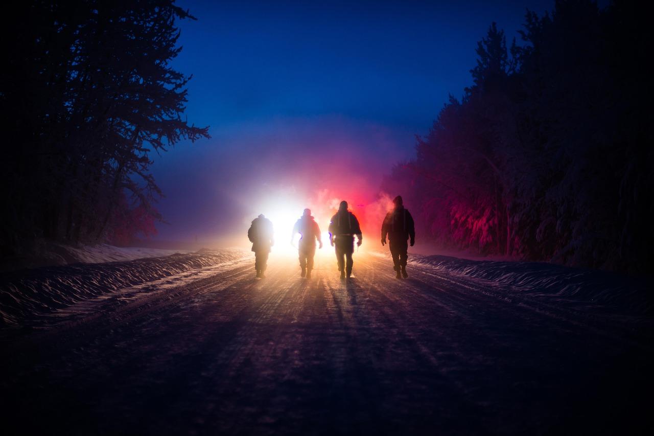 дорога ночь силуэт Пиксбэй