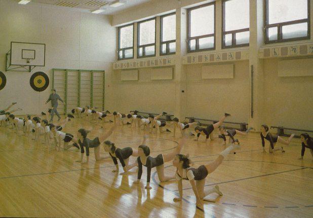 Занятия физкультурой в первой и единственной на тот момент школе