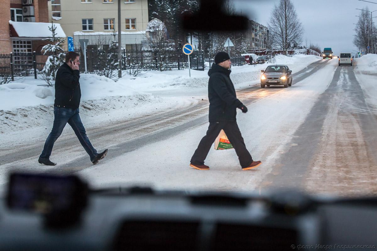 переход пешеход зима