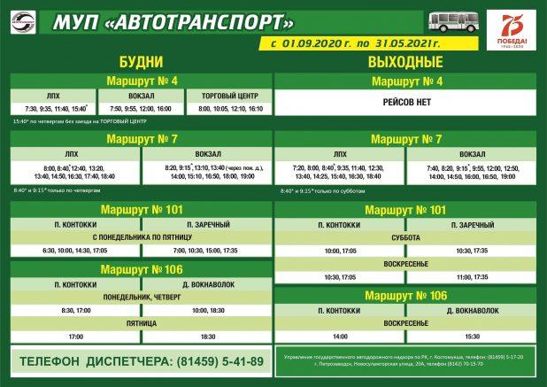 Костомукша расписание автобусов